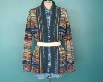 70s Boho Space Dyed Cardigan, Open Cardigan, 70s Cardigan Sweater, Sweater Coat, Loose Cardigan, Stripe, Knit Cardigan, Small Medium
