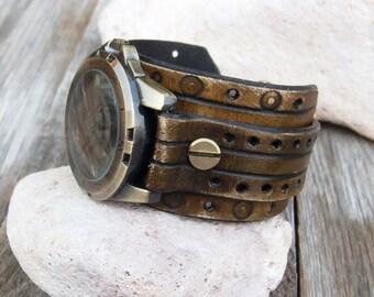 Leather cuff watch, Men Leather Wrist Watch, Unique Style bronze wrist watch, Leather boho cuff watch