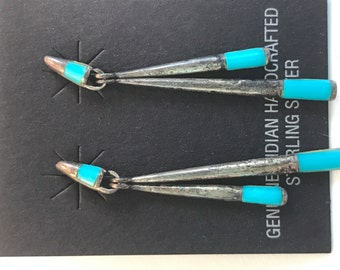 Vtg New old Stock Inlaid Turquoise Earrings