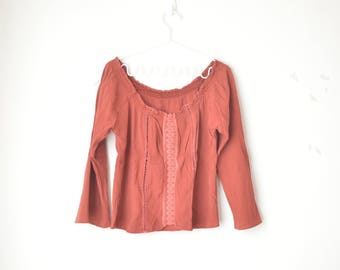 terracotta off shoulder gauze tunic shirt with lace 70s // M