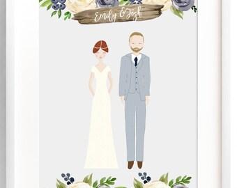 Personalized Wedding Portrait Custom Wedding Illustration Bride and Groom Custom Print Cartoon Wedding Party Wall Art Custom Wedding Gift