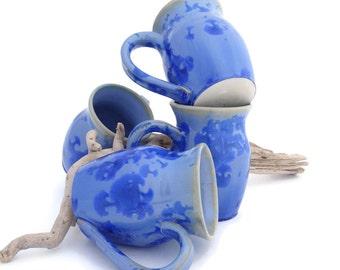 Blue Coffee Mugs , Ceramic Crystalline Glazed, Gift Coffee Lover