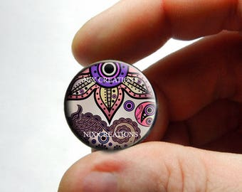 Glass Cabochon - Art Deco Floral Design 10 - for Jewelry and Pendant Making