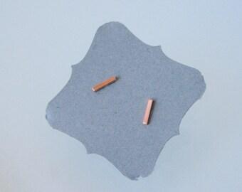 Tiny Earrings, Copper Bar Earrings, Stud Earrings, Stick Earrings, Copper Jewelry, Copper Earrings, Silver Posts, Bar, Copper, Minimal