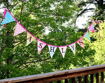 Custom Bunting, 13 Flag Personalized Banner Garland, You Choose Colors, Prints and Word