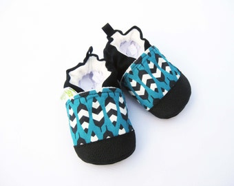 SALE Organic Vegan Feather in Teal Blue / non-slip soft sole baby shoes / made to order / Babies Toddlers Preschool