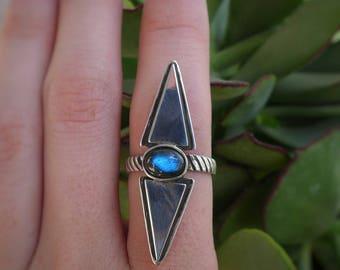 As Above So Below // Labradorite Striped Ring // Sterling Silver