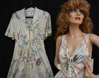 Shadowline Peignoir, Loungewear, Night Gown, Robe, NOS With Tags, RARE,Vintage 70s, Brown, Floral, Full Sweep, Ruffles, S/M, Mint
