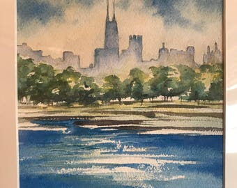 The Chicago Skyline         8 x 10         Original Watercolor