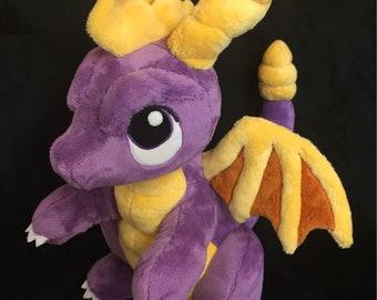 Spyro The Dragon custom plush - PenDragons plush, Spyro Plush, retro gaming, handmade plush, Dragon plush MADE TO ORDER