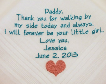 Father of the Bride Gift Wedding Hankerchief Personalized Wedding Handkerchief gift for Dad Hankerchief Embroidered Wedding Present for Dad