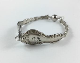 Letter G Bracelet, Letter G Jewelry. Spoon Bracelet, Spoon Jewelry, Cutlery Jewelry, Silver Spoon Bracelet, Magnetic Clasp Spoon Bracelet