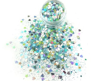 Mermaid Paradise Mix Glitters For Face & Body | Festival And Party Chunky Glitter Gems | Beauty Makeup Unicorn Birthday | Face Jewels