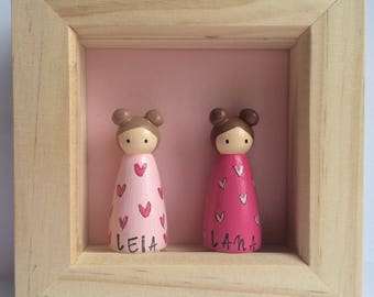 Small Framed Personalised Peg duo/couple