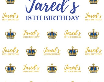 Custom Royal 18th Birthday Celebration Event Backdrop Banner Printed Background Photo Booth Prop (Any Text/Color)