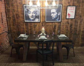 SALE - Zinc Topped Reclaimed Chunky Base Dining Table