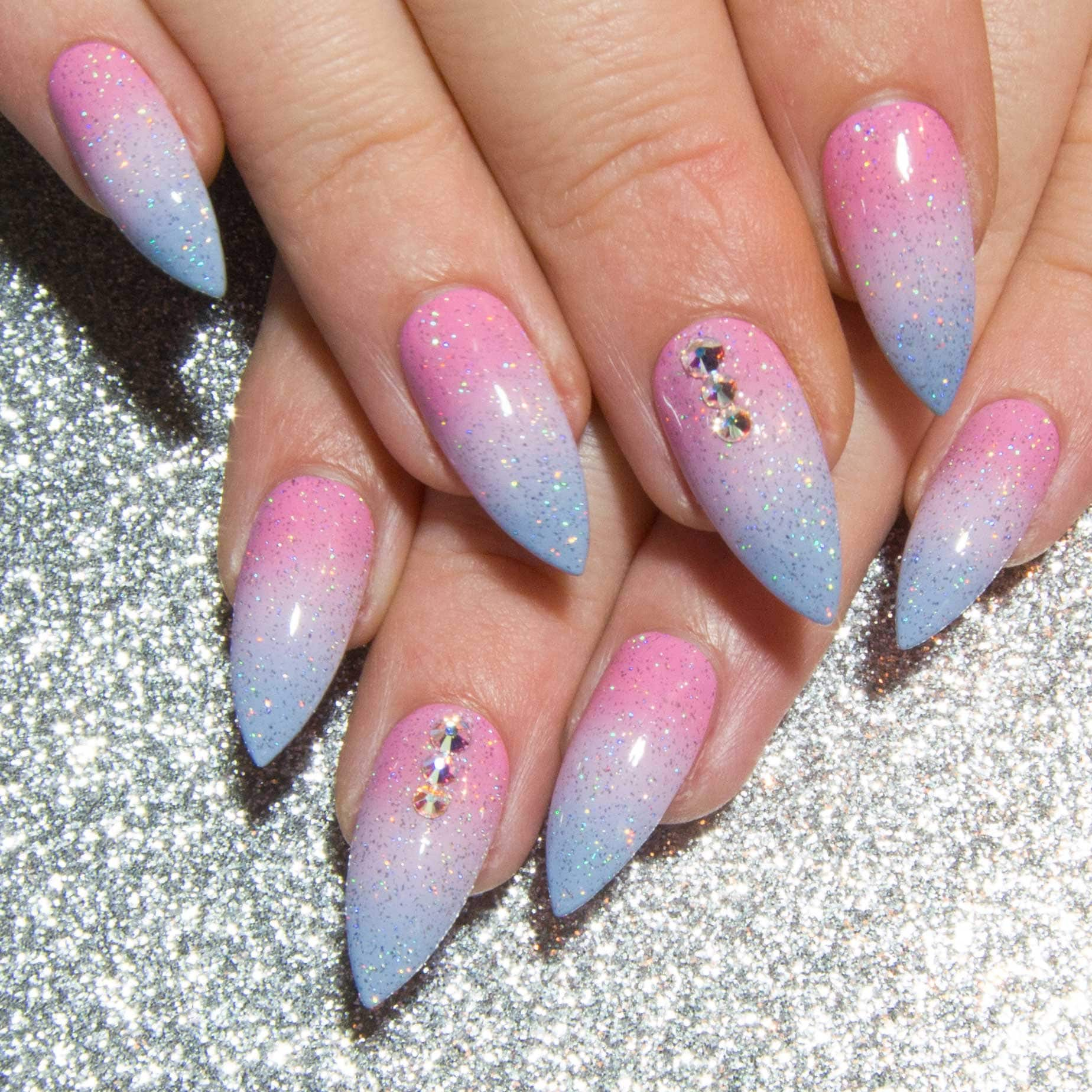 Crystal Press On Nails - Holographic Fake Nails - Pastel False Nails ...