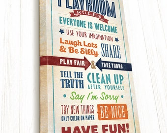 Personalized, Playroom Rules, Playroom Sign, Playroom Rules Sign, Playroom Wall Decor on Canvas