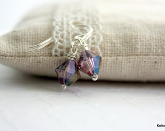 Crystal Earrings , Purple Drop Earrings , Swarovski Crystal , Wire Wrapped , Sterling Silver