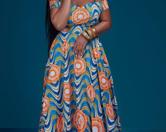 African Print Off the Shoulder Evening Gown