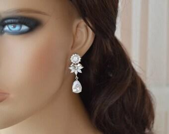 Bridal Earrings, Cubic zirconia Earrings, zirconia jewelry.