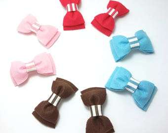 Pair of Girls Hair Bows. Bow Hair Clips, Red Hair Bows, Pink Hair Bows, Blue Hair Bows, Brown Hair Bows, Felt Hair Bows. Pretty Hair Clips.