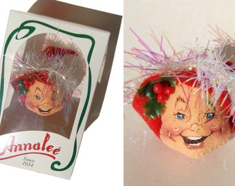 Vintage Annalee Elf Head Ornament 1996 Mint in Box