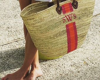 Monogrammed Extra Large Straw Beach Tote | Hand Painted Personalized French Market Basket | Painted Straw Bag