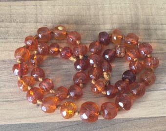 "Beautiful 18.5"" Antique Genuine Natural Faceted Honey Amber Bead Necklace 22gr"