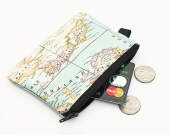 Small Travel Wallet, Travel Zip Coin Purse, Small Zipper Pouch, Padded Change Wallet, Small Makeup Bag - blue vintage world map