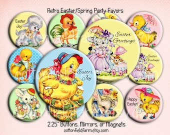 Retro Easter Images Party Favors Pinback Buttons, Mirrors, or Magnets 2.25 inch Set of 12 Chicks Bunnies Lambs  Your Choice Personalized