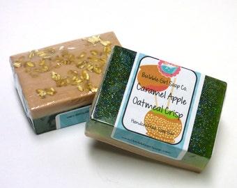 CLEARANCE Caramel Apple Oatmeal Crisp Goats Milk and Oatmeal Exfoliating Soap Handmade GIANT Bar by Bubble Girl Soap
