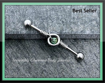 African turquoise 14 gauge Industrial barbell, stainless steel .....Available Barbell sizes 32mm, 35mm, 38mm