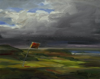 "Golf Art. Golf Gift. Golf Wall Decor. Royal Portrush Golf Club, Ireland - ""Downwind"". Print of original oil painting."