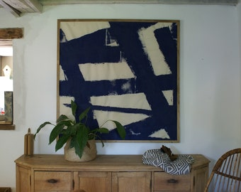 Abstract painting blue large format