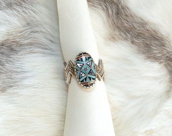 Sterling Silver Morning Star Ring, Turquoise Ring,RMT Roderick Marilyn Tenorio