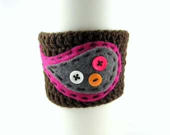 Crochet Coffee Cup Sleeve - Chocolate Brown with Magenta and Charcoal Paisley