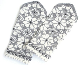 White Gray Hand Knitted Wool Mittens White Gray Hand Knitted Wool Gloves Warm Mittens Winter Gloves Latvian Mittens with Pattern Gift 2017