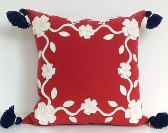 Mexican Garden Pillow with Creamy White Applique Felt on Nantucket Red Twill with Navy Blue Tassels