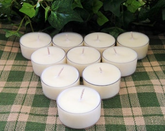 24 Unscented Soy Tealight Candles Undyed Long Lasting Soy Tea Lights
