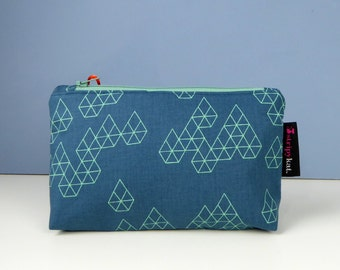 Waterproof lined case in navy and turquoise cotton, Make-up and cosmetic purse, Jewellery purse, Bag organiser with waterproof lining,