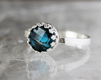Blue Topaz Crown Ring, London Blue Topaz, Sterling Silver Statement Ring, Princess Ring, Royal Blue Ring, Handmade Jewelry