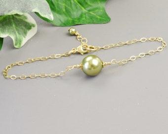 Green Pearl Bracelet - Gold Olive Green Swarovski Pearl Bridesmaid Bracelet - Pearl Wedding Jewelry - Bridal Jewelry - Bridesmaid Jewelry