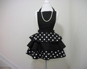 Little Black Apron w/Pearls