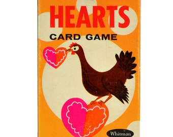 Hearts Whitman Card Game Vintage 1960s Playing Cards for Children Complete Deck No 4114