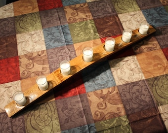 Menorah wine barrel stave 7 votive candle holder. Table center piece from reclaimed wood. Includes candles.