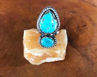 Kingman Turquoise Ring, Natural Turquoise Ring, Sterling Silver Ring, Turquoise Ring, Size 9 Ring, Engagement Ring, BOHO Bride
