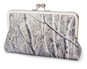 Silver birch trees clutch purse, trees forest bag, woodland wedding, silk bridal purse
