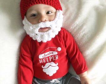 santa beard hat crochet santa hat baby santa hat christmas hat santa