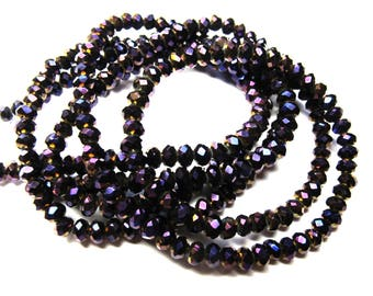 20 ROUND PURPLE IRIDESCENT CRYSTAL BEADS HAVE FACETED 5 MM